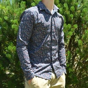 Topman Blue  and Red Paisley Topshop